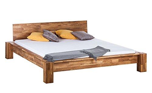 Massiv Holz Doppelbett 180x200 cm Eiche Bettgestell Ehebett Schlafzimmer Bett