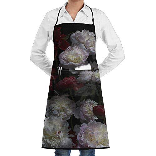 Drempad Premium Unisex Schürzen, Bib Apron with Pockets Peony Flowers Floral Durable Cooking Kitchen Aprons for Men Women