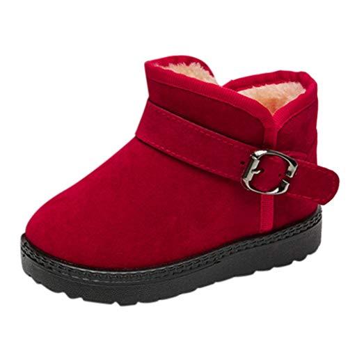 HDUFGJ Unisex Baby Stiefel Booties Plus Velvet Keep warm Winter Boots Snow Boots Kleinkind Schuhe weiche Krippe Kleinkind Schuhe Canvas Sneaker Toddler shoes23 EU(rot)
