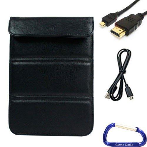 Gizmo Dorks Kunstleder Sleeve Cover Schutzhülle (schwarz), USB, HDMI-Kabel Paket mit Karabiner Schlüsselanhänger für Pandigital SuperNova 20,3cm Tablet (Pandigital Tablet-fall)