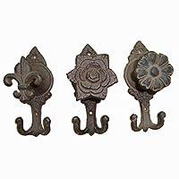 Salome Idea Antique Cast Iron Key Rack, Vintage Coat Hook, Shabby Chic Wall Hooks, (Flower Cambo, SET 3PC)