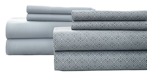 Pacific Coast Textiles Diamant Bedruckt/solid-Bettlaken-Set, Denim, Full, 8-teilig -