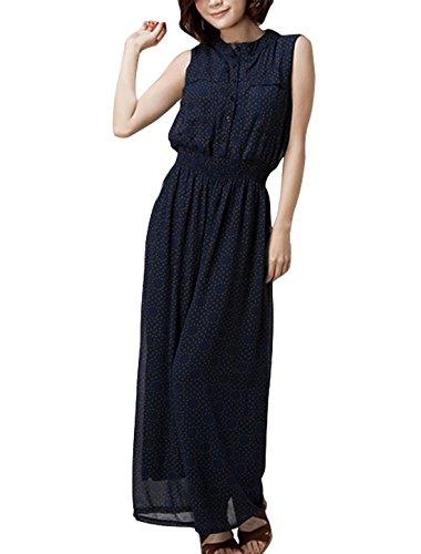 En mousseline de soie pour femme Col rond-sans tomber sur toute la longueur de la combinaison Bleu - Bleu