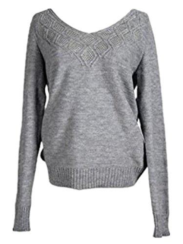 AILIENT Maglieria Donna Autunno Moda Felpe Maglie A Manica Lunga Maglione Felpa Crop Top V-collo Maglione Eleganti Pullover Cavo Maglie Top Sweatershirt Grey
