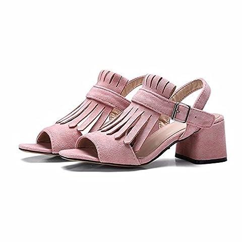 Des chaussures pour femmes, daim, sandales, chaussures grande taille, talons hauts,Rose,42