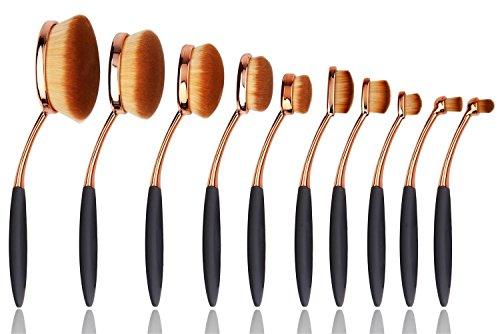 Naturebeauty 10 pcs ovale Brosse à dents Lot de brosse de maquillage Fond de teint poudre contour Blush Correcteur Brosse Lot de Outil de Cosmétique de maquillage Or rose