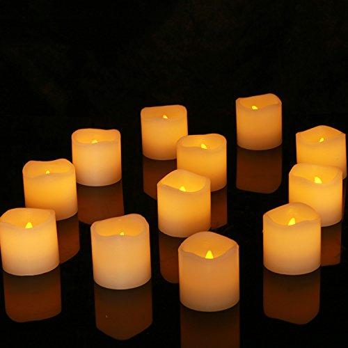 Homemory 12 Led Flammenlose Wachs Kerzen, 5cm Elektrische Flackernde Batteriebetriebene Teelichter, Led Votivkerzen Gelb