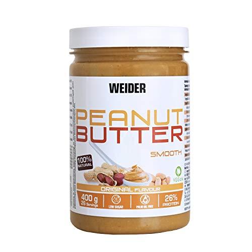Weider Peanut Butter  100% Mantequilla De Cacahuete natural con textura suave y cremosa. Sin azúcares añadidos. Apta para veganos. Sin aceite de palma (150 g)