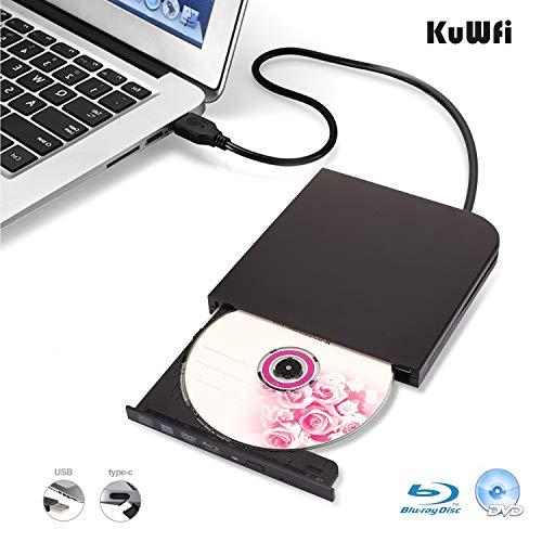 KuWFi External Blu Ray Burner, USB3.0 Type-C Dual Interfaces Portable Slim Automatic slot-loading CD/DVD-RAM/BD-ROM…