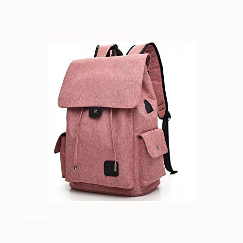 16 Hafen-faser (Backpack Laptop Rucksack 16 Zoll Mit USB aufladen Hafen , Pink)