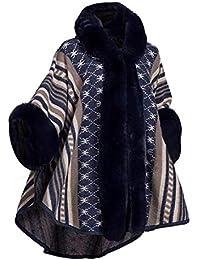 5465ff11680ce9 Cool&D Damen Poncho Cape Strickjacken Kapuzencape Winter Umhang Kunstpelz  Stolen mit Kunstfell Kragen