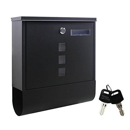 Briefkasten schwarz Stahl Design Postkasten Zeitungsfach-Rolle Wand Mailbox 400051 black