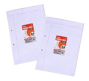 Oddy 65 GSM Project Sheet A4 Size 40 Sheet Both Side Ruled Punched (Set of 5)