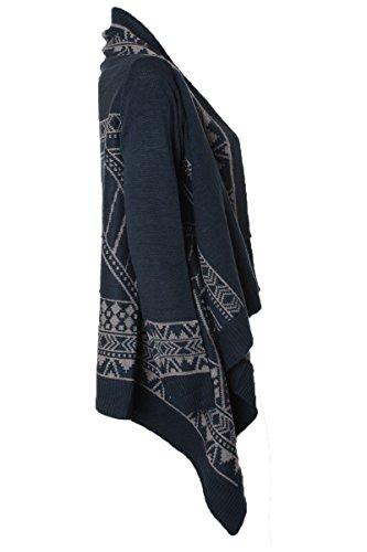 Strickcardigan Poncho Cape Herbst & Winter mit Ethno Aztekenmuster Blau