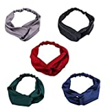 Driew Women Girls Silk Satin Elastic Headbands Head Wrap Turban Twisted Knotted Hairband (Pack of 5)