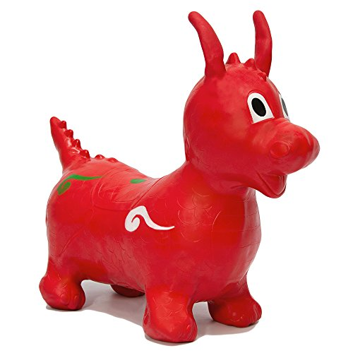Dragón Hinchable desarrollo habilidades motoras primera infancia | animal de juguete inflable para cabalgar brincar retozar rebotar mecer | asiento 26 cm de alto | rojo