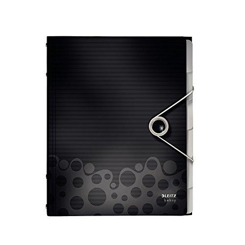 Leitz 45690095 Bebop Ordnungsmappe (Polypropylen, 6 Fächer) schwarz