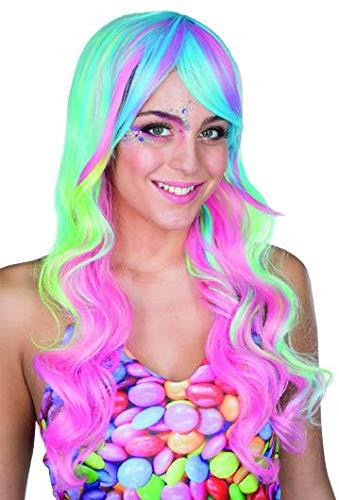 Rubie's Candy Lady Perücke Langhaarperücke Pastelltöne Karneval Einhorn Meerjungfrau (Sweet Meerjungfrau Kostüm)