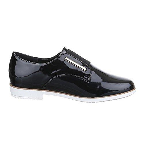 Damen Schuhe, XC-11, HALBSCHUHE LACK Schwarz