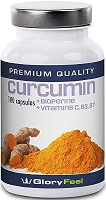 Turmeric Curcumin with Bioperine   960mg Curcuma-Powder from Original Turmeric-Root + Piperine, Vitamin C, Niacin (B3) and Biotin (B7)   100 Vegan Turmeric Curcumin Capsules by GloryFeel