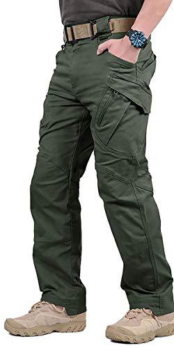GooDoi Arbeitshosen Männer Military Pants Tactical Hose Arbeitshose für Mann Cargohose Männer Combat Outdoor-Hose für Camping Wandern,Grün,34 (=Tag 2XL ,Taille 35,4 inch) -