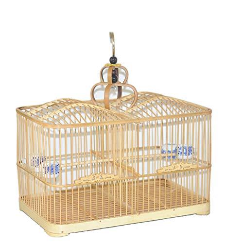 Hjd-Pet Nest Bambus-Vogelkäfig-Papageien-Tauben-Käfig-Vogelkäfig Bambus-Vogelkäfig-manueller Reihen-Käfig geschnitzter Tür-großer Platz