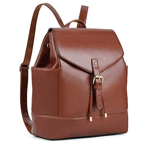Damen Rucksack,COOFIT Leder Rucksack Schulrucksäcke PU Leder Reise Daypacks Tasche Schulranzen (Brown)