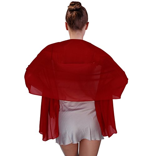FIODAY Damenschal Chiffon Stola Schal fuer Kleider Abendkleid 180cmx45cm, Rot