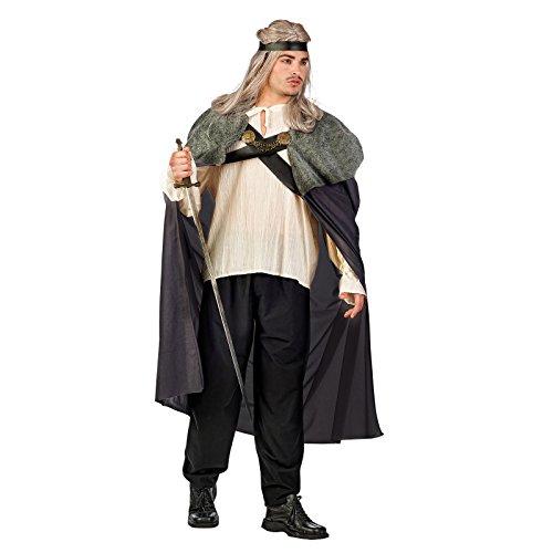 Mittelalter Umhang Erwachsene Krieger Kostüme (Kostüm Herren Krieger des Lichts grau Mittelalter Gewand 3-teilig -)