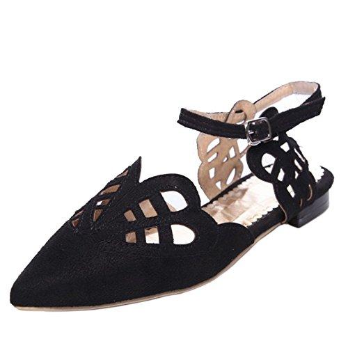 TAOFFEN Femmes Pointue Ete Sandales Plats Sangle De Cheville Cut-out Chaussures Noir