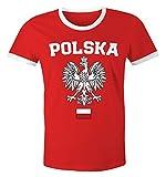 MoonWorks WM 2018 Herren T-Shirt Fan-Shirt Retro Fußball Weltmeisterschaft Fan-Trikot Rot-Weiß-Schwarz XXL