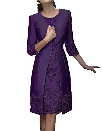 HWAN Satin Mutter der Braut Kleid Applikationen kurze formale Kleider mit Jacke