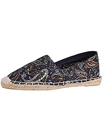 oodji Collection Femme Espadrilles en Coton Imprimé, Bleu, 37 EU / 4 UK