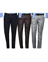Mark Pollo Cotton Rich Fabric Regular Fit Formal Trousers For Men (Pack Of 3) Black, Blue, Light Grey