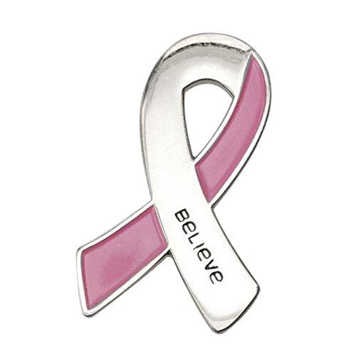 Schleife Brosche mit Gravur Believe Pink Ribbon
