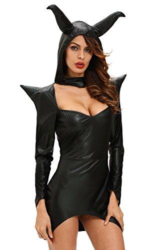 r-dessous Damen Kostüm Kleid schwarze Zauberin Horror Gothic Dark Lady Teufel Halloween Karneval Fasching Groesse: M
