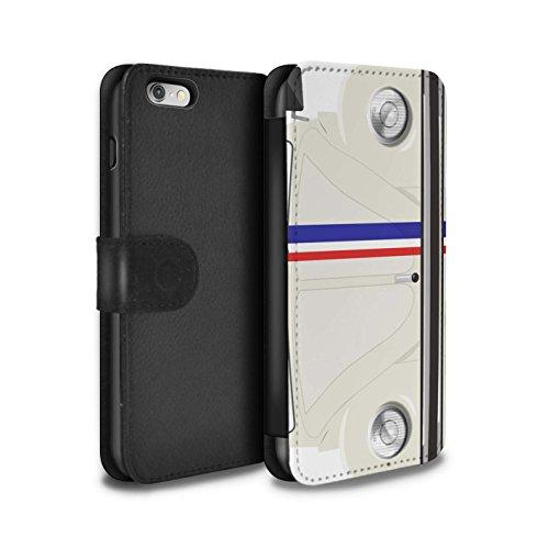 Stuff4PU Leder Case/Cover/Wallet für Apple iPhone 6S/Retro Beetle Collection hellorange Racing Stripes