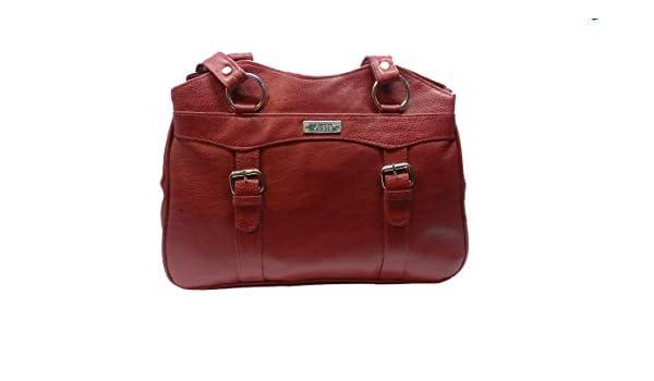 276da2fd16c Vesta Stylish Casual Form Leather Handbag for Women   Girls (Wine Berry  color)  Amazon.in  Shoes   Handbags