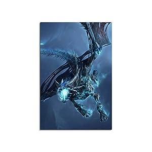 World of Warcraft Ice Dragon 90x60cm Bild als schoener Kunstdruck auf echter Leinwand als Wandbild auf Keilrahmen