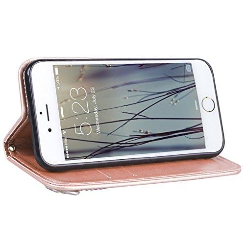 iPhone 6 / iphone 6s Hülle, Yokata Flip Rose Gold Case Vintage PU Leder Bookstyle Case mit Weich Silikon Backcover Schutzhülle Dünne Standfunktion und Karte Halter Case - Lippe Engel