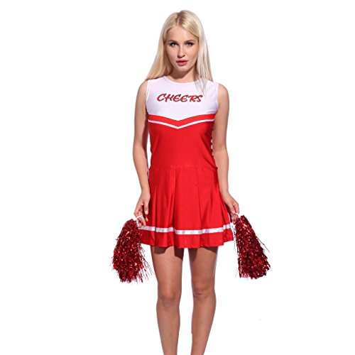 RichDeer Cheerleader Kostuem Uniform Cheerleading Cheer Leader mit 2 Pompons Minirock Damen Maedchen Karneval Fasching cheers (Mädchen Kostüme Cheerleader)