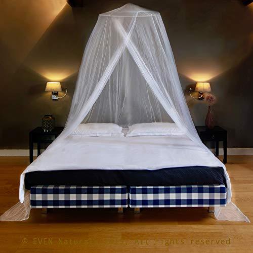 EVEN Naturals Luxus Moskitonetz Doppelbett, größtes Mückennetz Bett, Rundes Camping Netz, Betthimmel Vorhang, Insektenschutz Reise, 2 Einträge, Einfache Anbringung, Tragetasche, keine Chemikalien