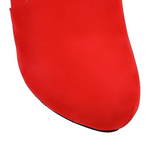 VogueZone009 Donna Puro Tacco Alto Punta Tonda Pelle Di Mucca Cerniera Stivali Rosso