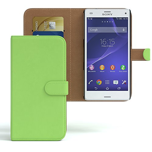 Sony Xperia Z3 Compact Hülle - EAZY CASE Premium Flip Case Handyhülle - Schutzhülle aus Leder in Braun Grün (Book)