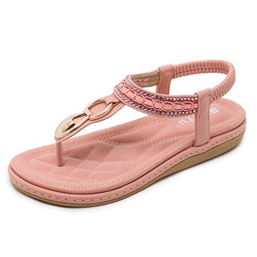 Damen Mädchen Sommer Sandalen Strandschuhe Böhmische Stil Strass Peep Toe Flache Schuhe Rosa 38EU Rosa Peep Toe