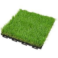 EHC 4 x Interlocking UV Resistant Artificial Turf Grass Tiles, 31.5 x 31.5cm Paving Decking Easy Click