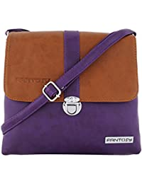 Fantosy Women Tan And Purple Lock Slingbag Fnsb-178