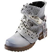 LuckyGirls Botas de Cuero Zapatos para Mujer Cuadros Perla Heuco Hebilla Botín Botitas Zapatillas con Cierre