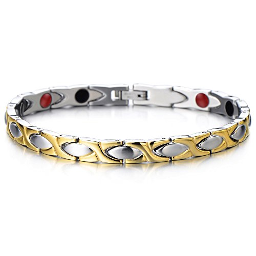 Klassische Damen Armband Magnetarmband Edelstahl Elemente mit Magneten and Germanium, Link-Tool zum Entfernen Enthalten (Gotische Elemente)