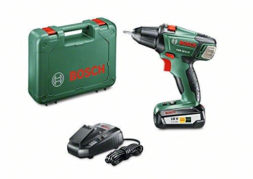 Bosch  060397330G - Taladro atornillador con batería de litio PSR 18 LI-2 (2 velocidades, 45 W, 18 V, Power for all, cargador 1 hora, maletín, 2,5 Ah, punta doble)